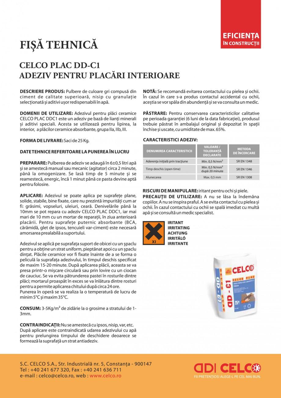 Pagina 1 - Adeziv pentru placi ceramice de interior CELCO PLAC interior DD-C1 Fisa tehnica Romana...