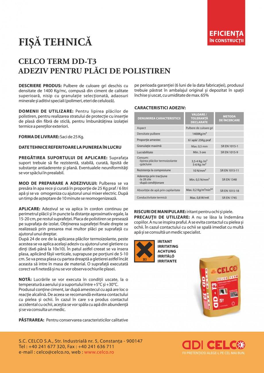 Pagina 1 - Mortar adeziv pentru polistiren CELCO TERM DD-T3 Fisa tehnica Romana Aspect  Pulbere de...