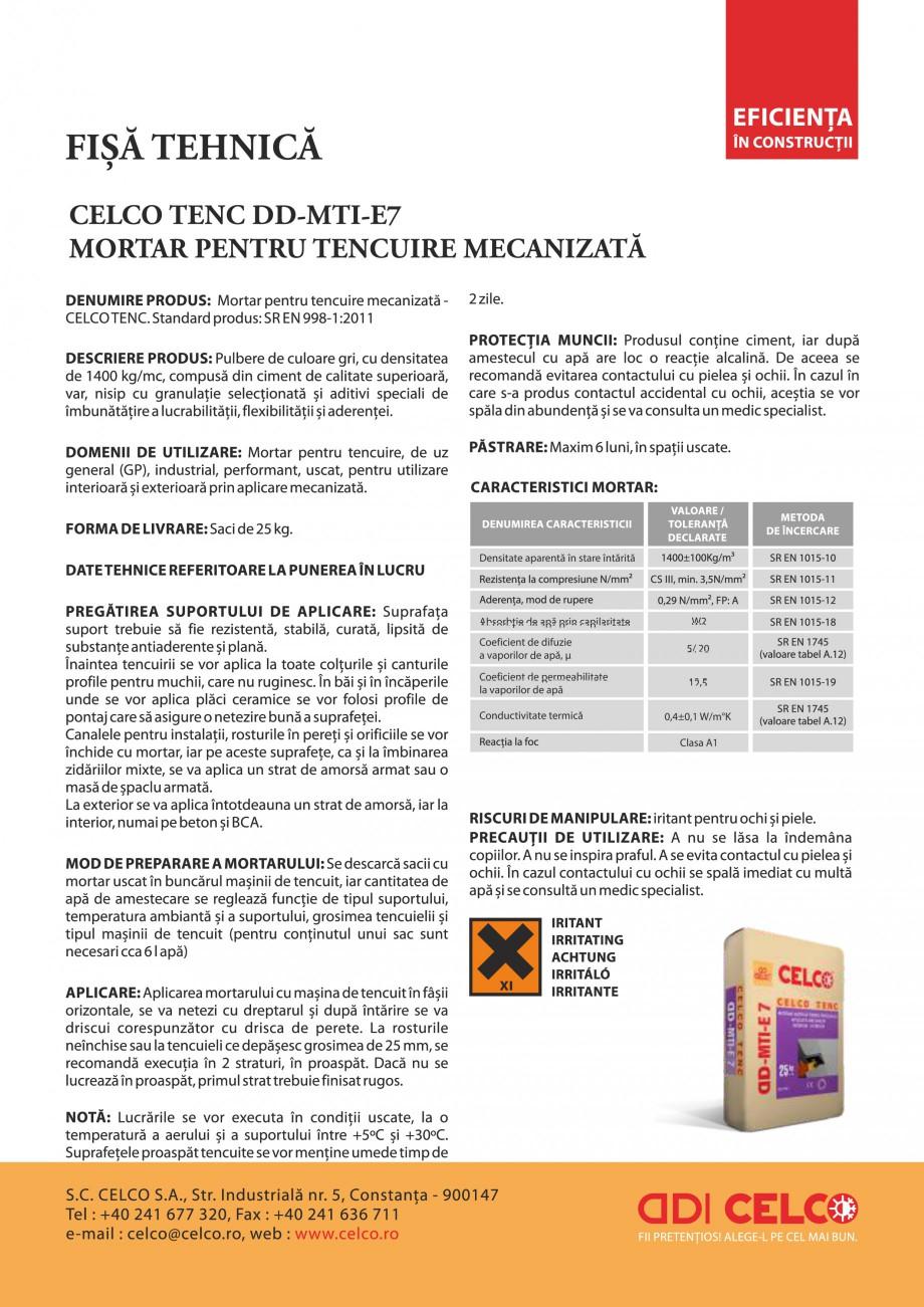 Pagina 1 - Mortar pentru tencuire mecanizata CELCO DD-MTIE7 Fisa tehnica Romana Densitate aparentă ...