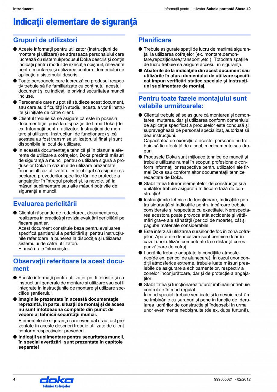 Pagina 4 - Schela portanta DOKA STAXO 40 Instructiuni montaj, utilizare Romana e de siguranţă a...