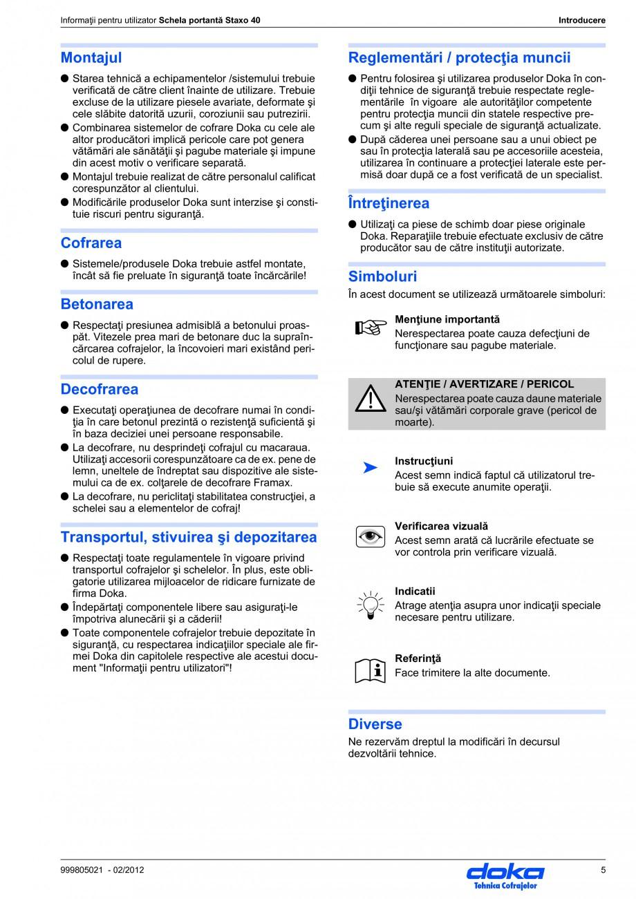 Pagina 5 - Schela portanta DOKA STAXO 40 Instructiuni montaj, utilizare Romana ru utilizatori ale...