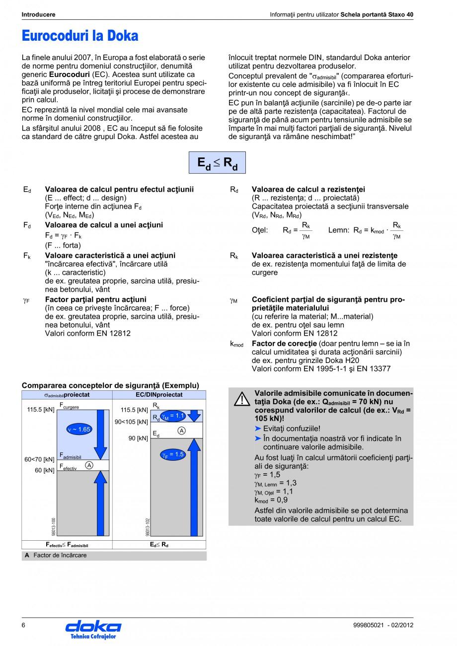 Pagina 6 - Schela portanta DOKA STAXO 40 Instructiuni montaj, utilizare Romana  ● Stabilitatea şi...