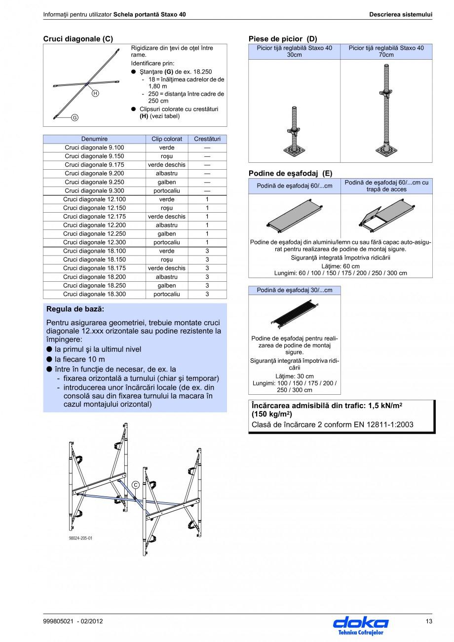 Pagina 13 - Schela portanta DOKA STAXO 40 Instructiuni montaj, utilizare Romana i (cu referire la...