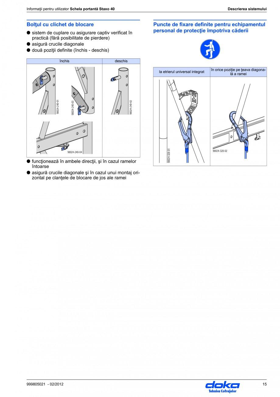 Pagina 15 - Schela portanta DOKA STAXO 40 Instructiuni montaj, utilizare Romana ate datorită...