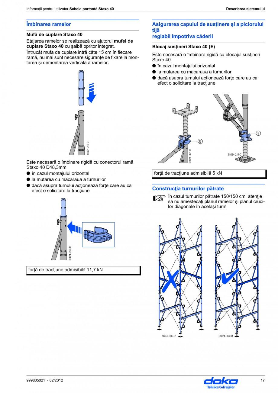 Pagina 17 - Schela portanta DOKA STAXO 40 Instructiuni montaj, utilizare Romana izarea...