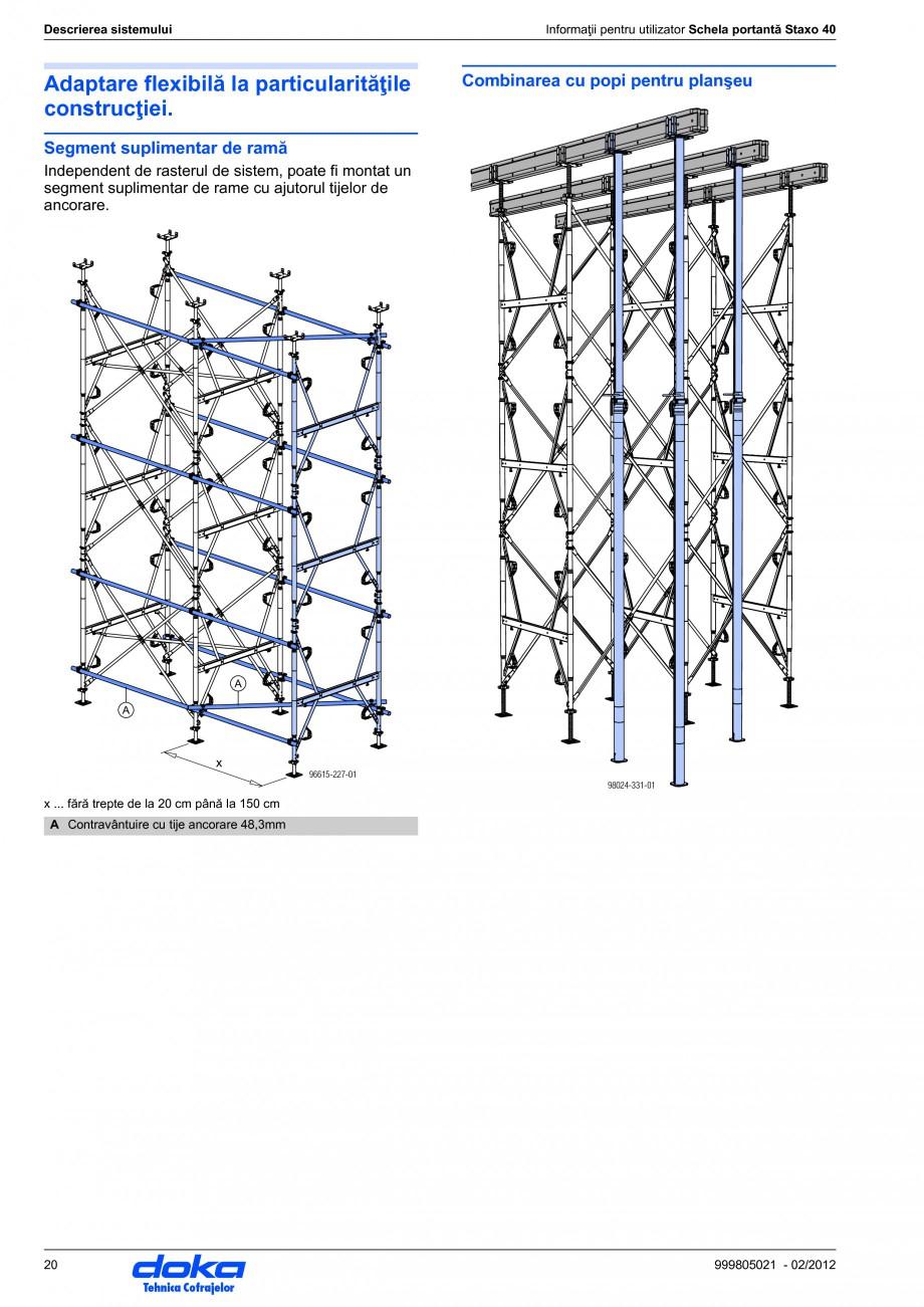 Pagina 20 - Schela portanta DOKA STAXO 40 Instructiuni montaj, utilizare Romana ap furcă regla- Cap...