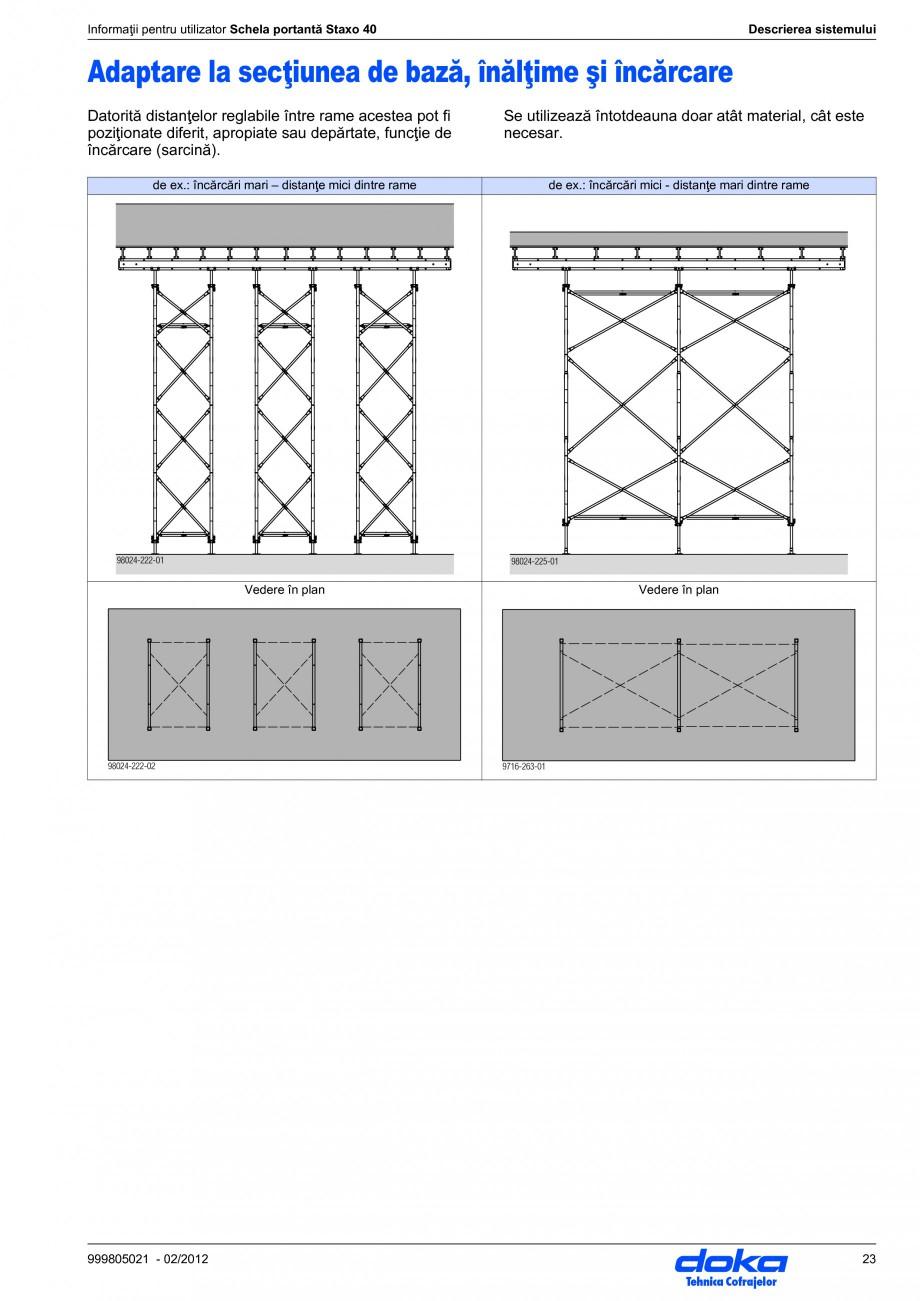 Pagina 23 - Schela portanta DOKA STAXO 40 Instructiuni montaj, utilizare Romana 0 cm Lungimi: 100 / ...