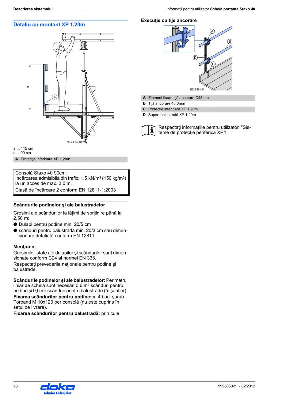Pagina 28 - Schela portanta DOKA STAXO 40 Instructiuni montaj, utilizare Romana l de grindă se pot ...