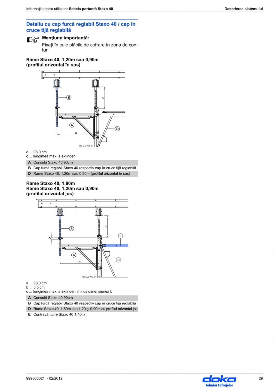 Pagina 29 - Schela portanta DOKA STAXO 40 Instructiuni montaj, utilizare Romana ex. cu contrafişa...