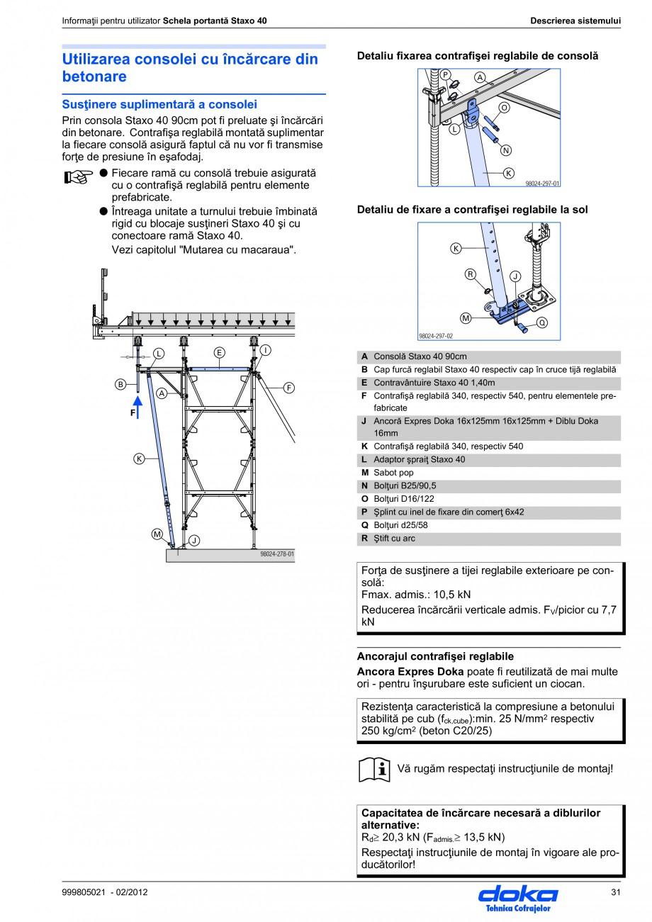 Pagina 31 - Schela portanta DOKA STAXO 40 Instructiuni montaj, utilizare Romana ☞  Menţiune...