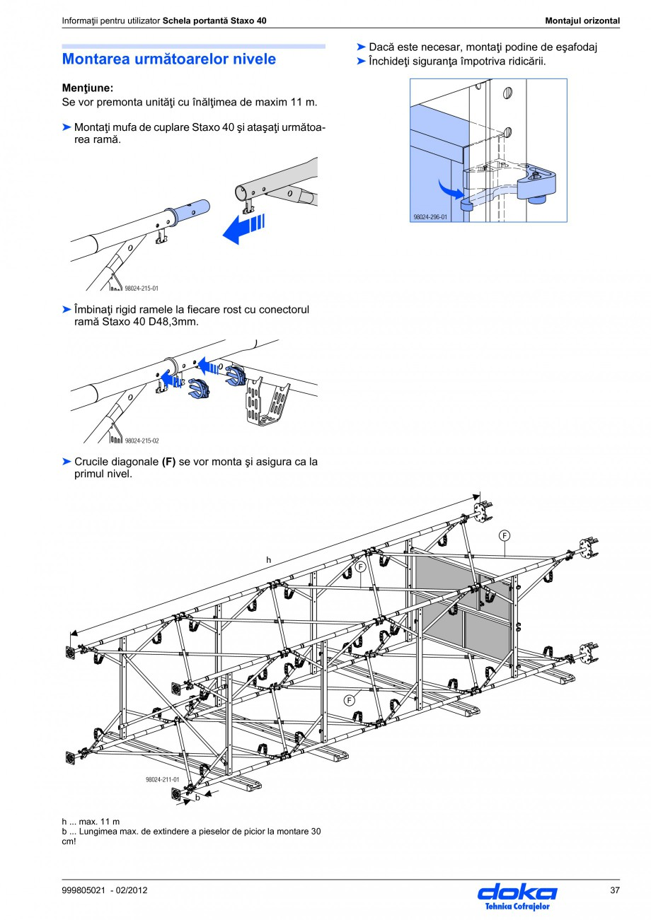 Pagina 37 - Schela portanta DOKA STAXO 40 Instructiuni montaj, utilizare Romana  balustradelor: Per ...