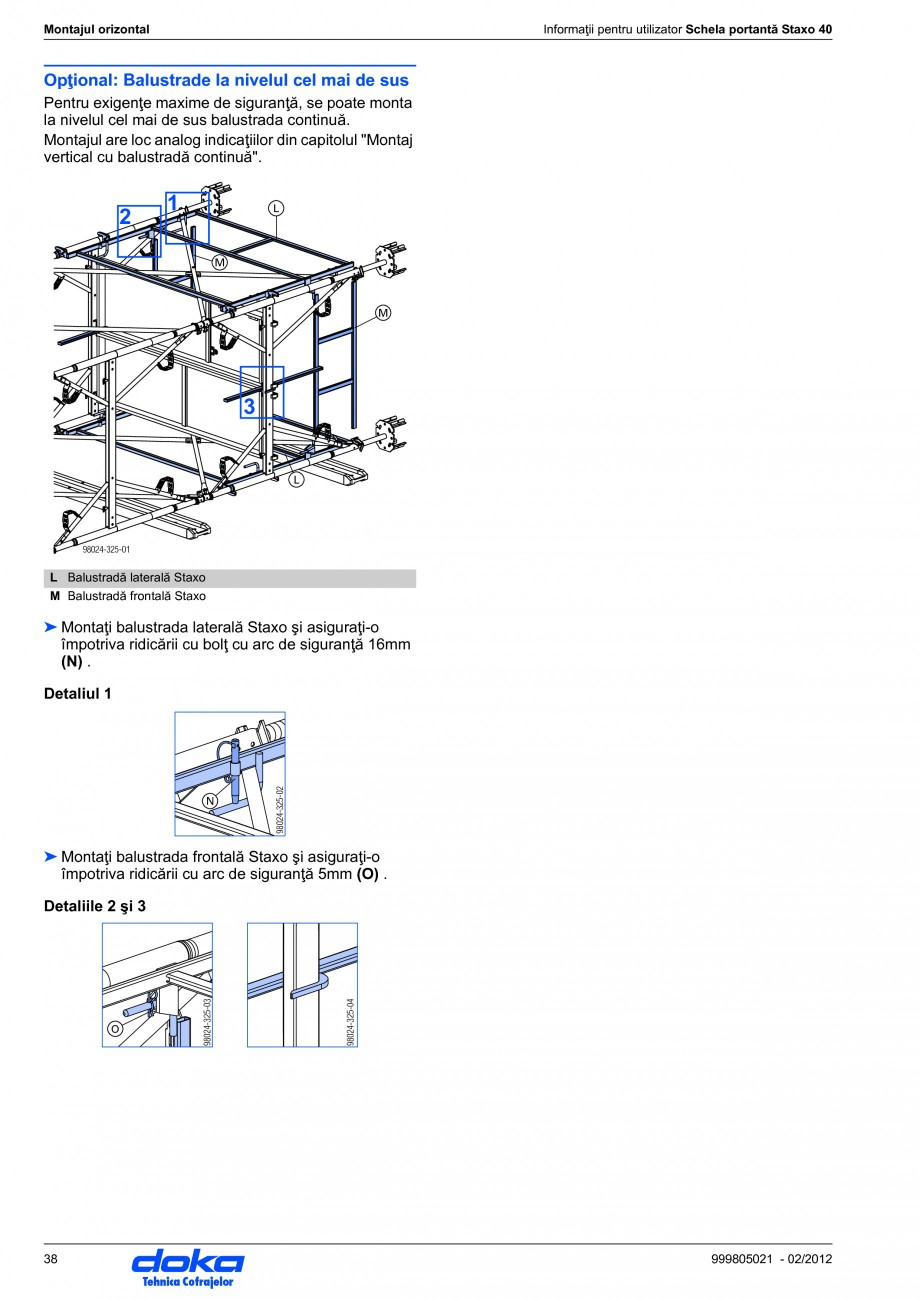 Pagina 38 - Schela portanta DOKA STAXO 40 Instructiuni montaj, utilizare Romana 24-272-01  a ... 98,...