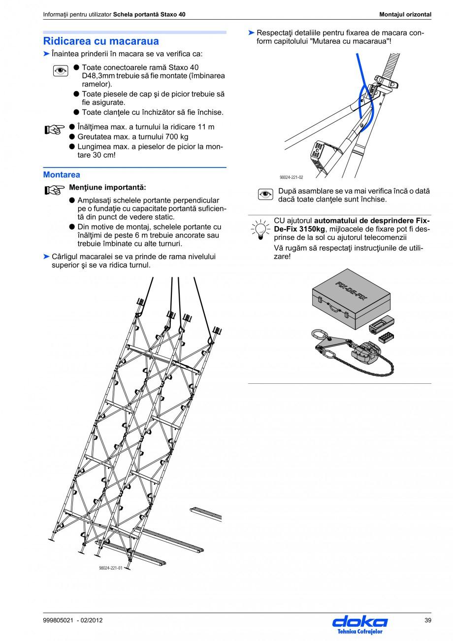 Pagina 39 - Schela portanta DOKA STAXO 40 Instructiuni montaj, utilizare Romana care ramă cu...