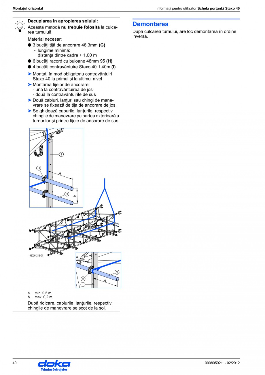 Pagina 40 - Schela portanta DOKA STAXO 40 Instructiuni montaj, utilizare Romana 5 J Ancoră Expres...