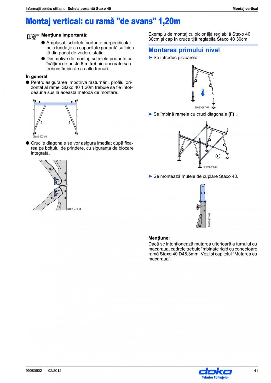 Pagina 41 - Schela portanta DOKA STAXO 40 Instructiuni montaj, utilizare Romana ce tijă reglabilă ...
