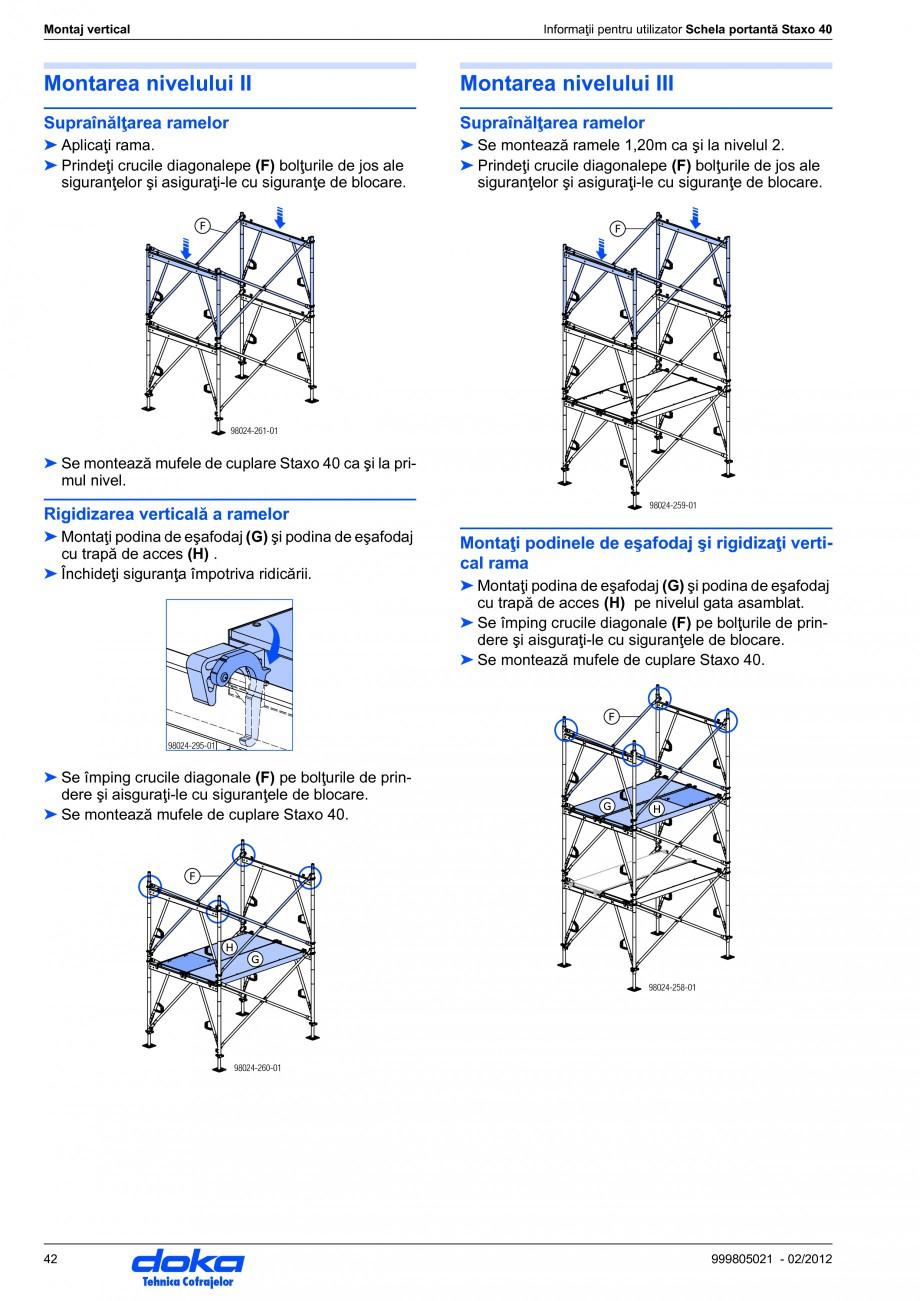 Pagina 42 - Schela portanta DOKA STAXO 40 Instructiuni montaj, utilizare Romana aţi instrucţiunile...
