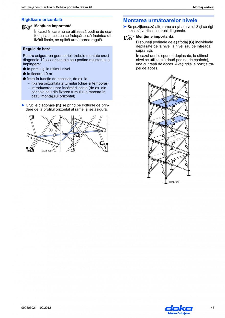 Pagina 43 - Schela portanta DOKA STAXO 40 Instructiuni montaj, utilizare Romana corare poate fi...