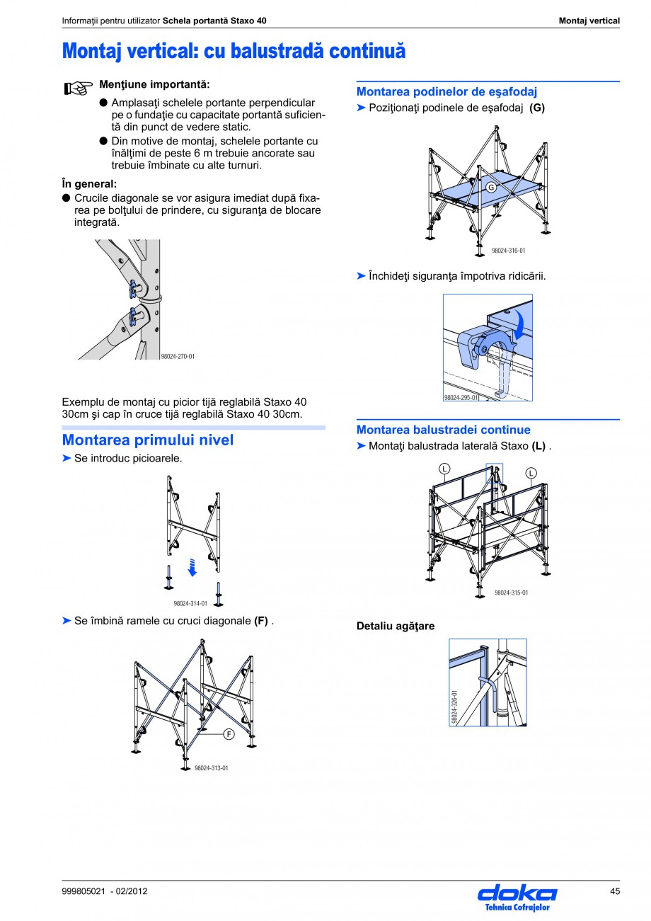 Pagina 45 - Schela portanta DOKA STAXO 40 Instructiuni montaj, utilizare Romana zontală Montajul...