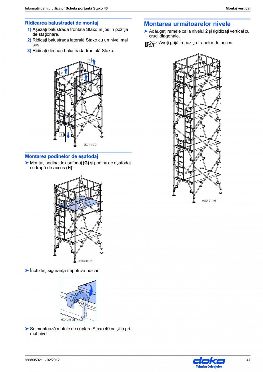 Pagina 47 - Schela portanta DOKA STAXO 40 Instructiuni montaj, utilizare Romana  h  F  F ...