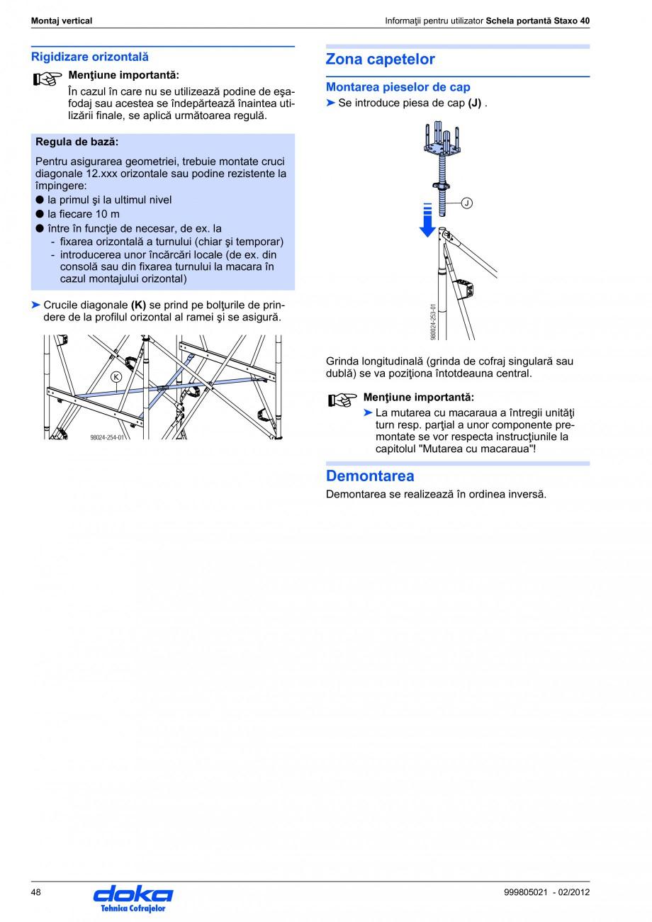 Pagina 48 - Schela portanta DOKA STAXO 40 Instructiuni montaj, utilizare Romana l orizontal ...