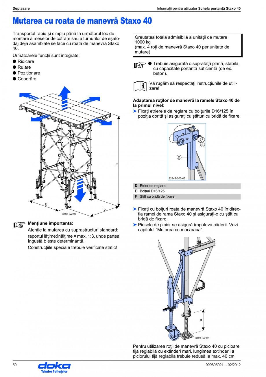 Pagina 50 - Schela portanta DOKA STAXO 40 Instructiuni montaj, utilizare Romana manevrare pe partea ...