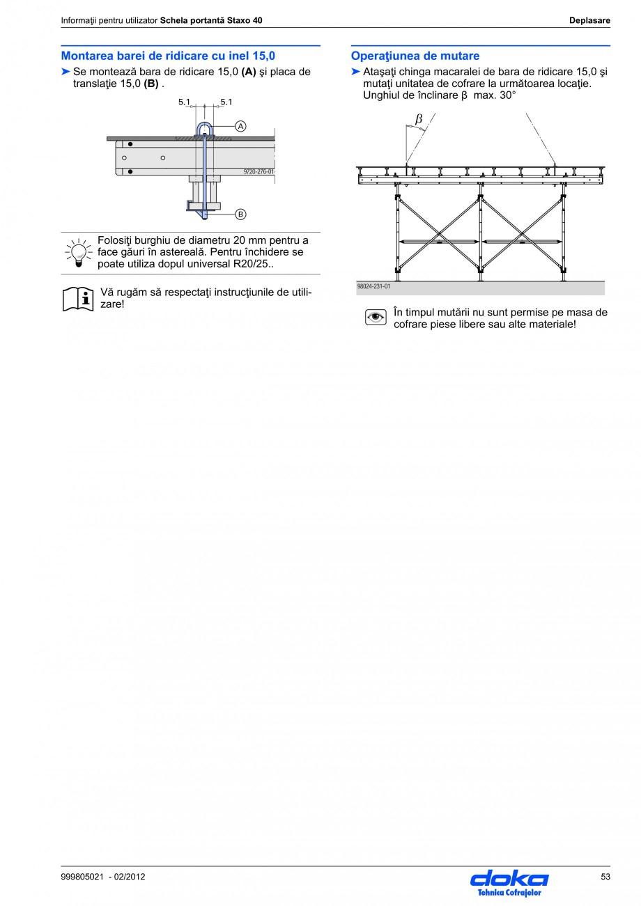 Pagina 53 - Schela portanta DOKA STAXO 40 Instructiuni montaj, utilizare Romana tru utilizator...
