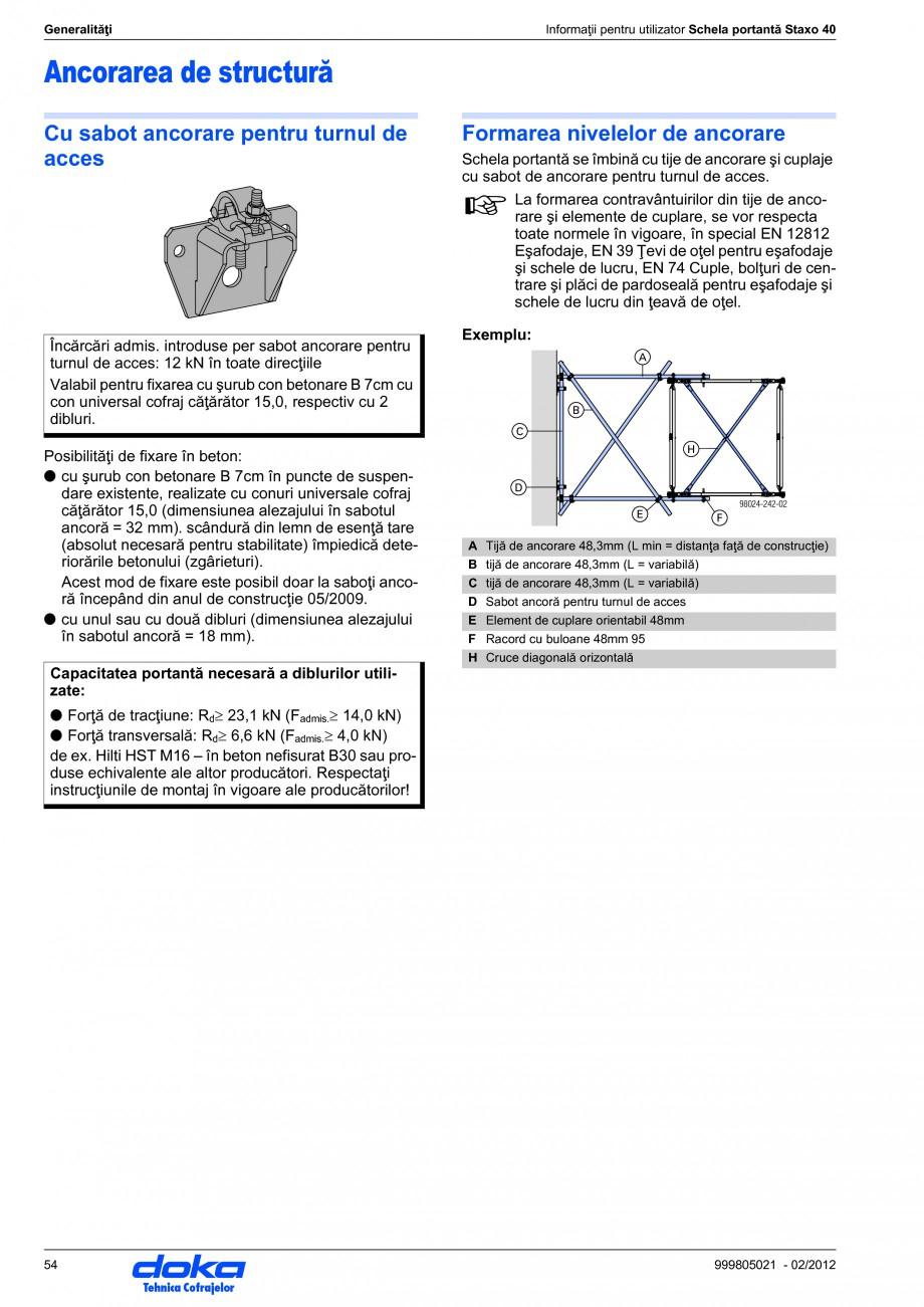 Pagina 54 - Schela portanta DOKA STAXO 40 Instructiuni montaj, utilizare Romana nor încărcări...