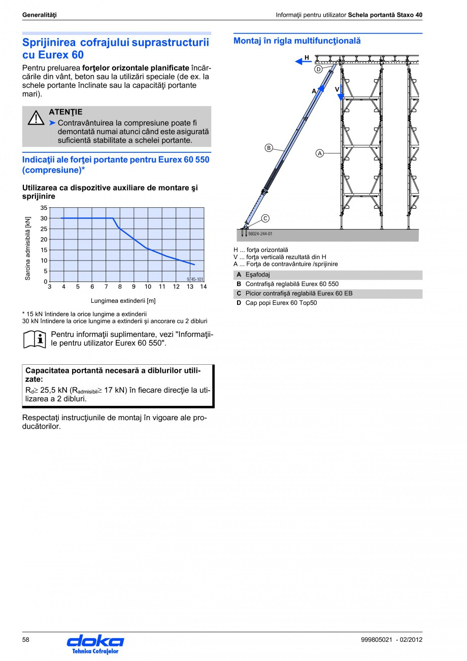 Pagina 58 - Schela portanta DOKA STAXO 40 Instructiuni montaj, utilizare Romana rmătoarea regulă. ...