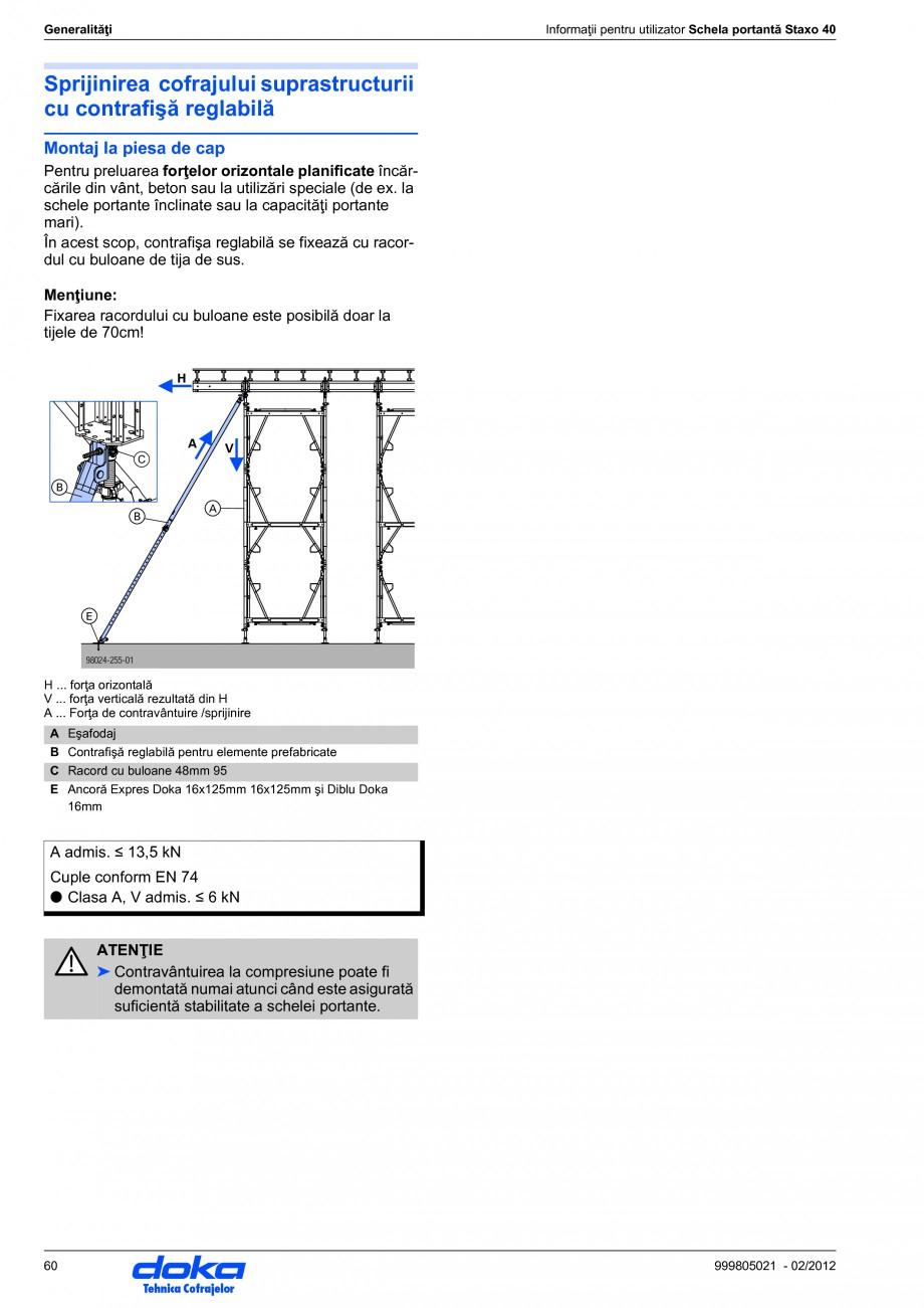 Pagina 60 - Schela portanta DOKA STAXO 40 Instructiuni montaj, utilizare Romana �n poziţia dorită ...