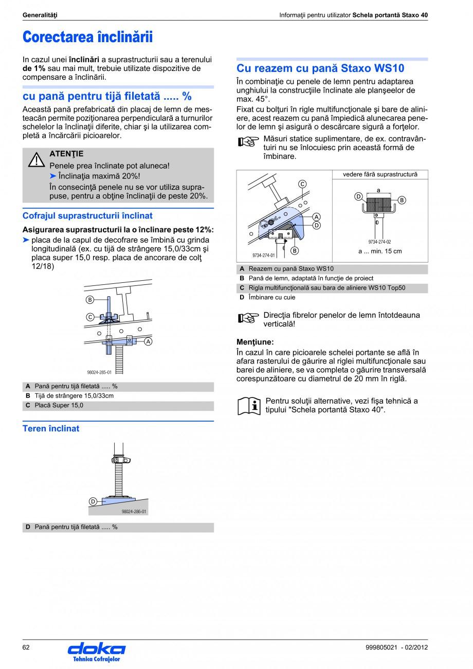 Pagina 62 - Schela portanta DOKA STAXO 40 Instructiuni montaj, utilizare Romana ei de blocare. ...