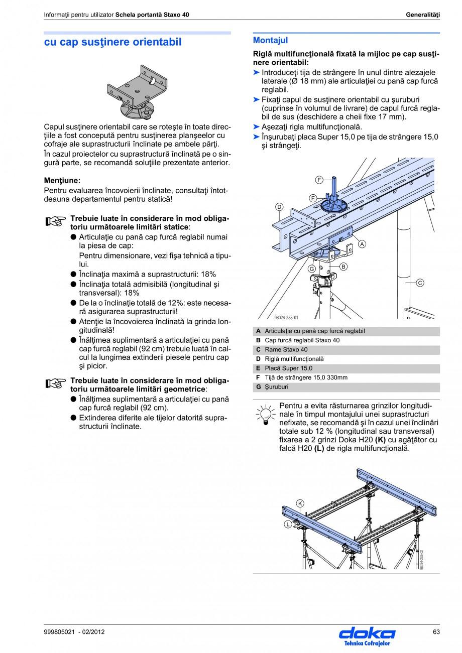 Pagina 63 - Schela portanta DOKA STAXO 40 Instructiuni montaj, utilizare Romana  se bate în cuie.  ...
