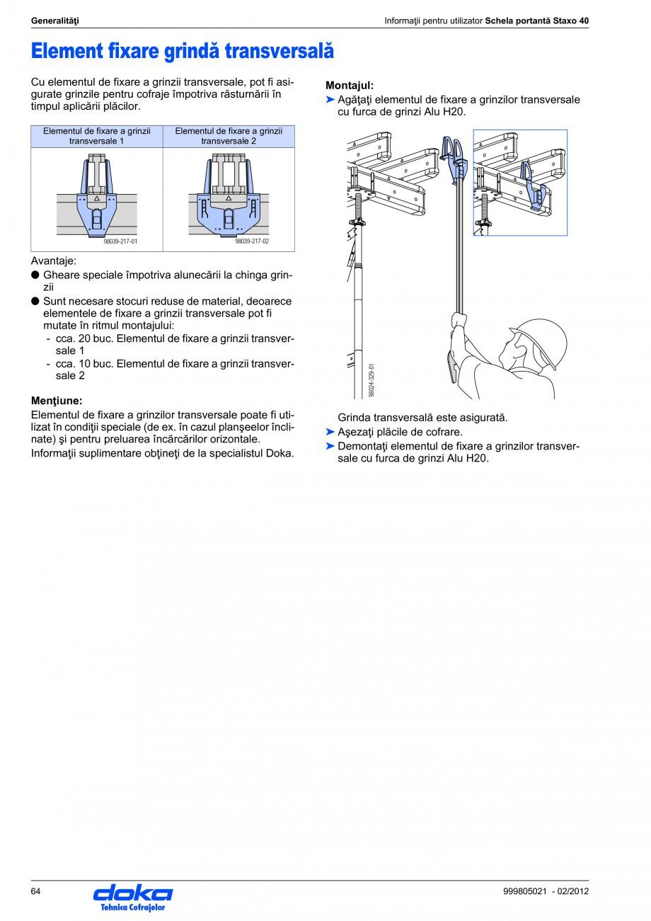 Pagina 64 - Schela portanta DOKA STAXO 40 Instructiuni montaj, utilizare Romana urghiu de diametru...