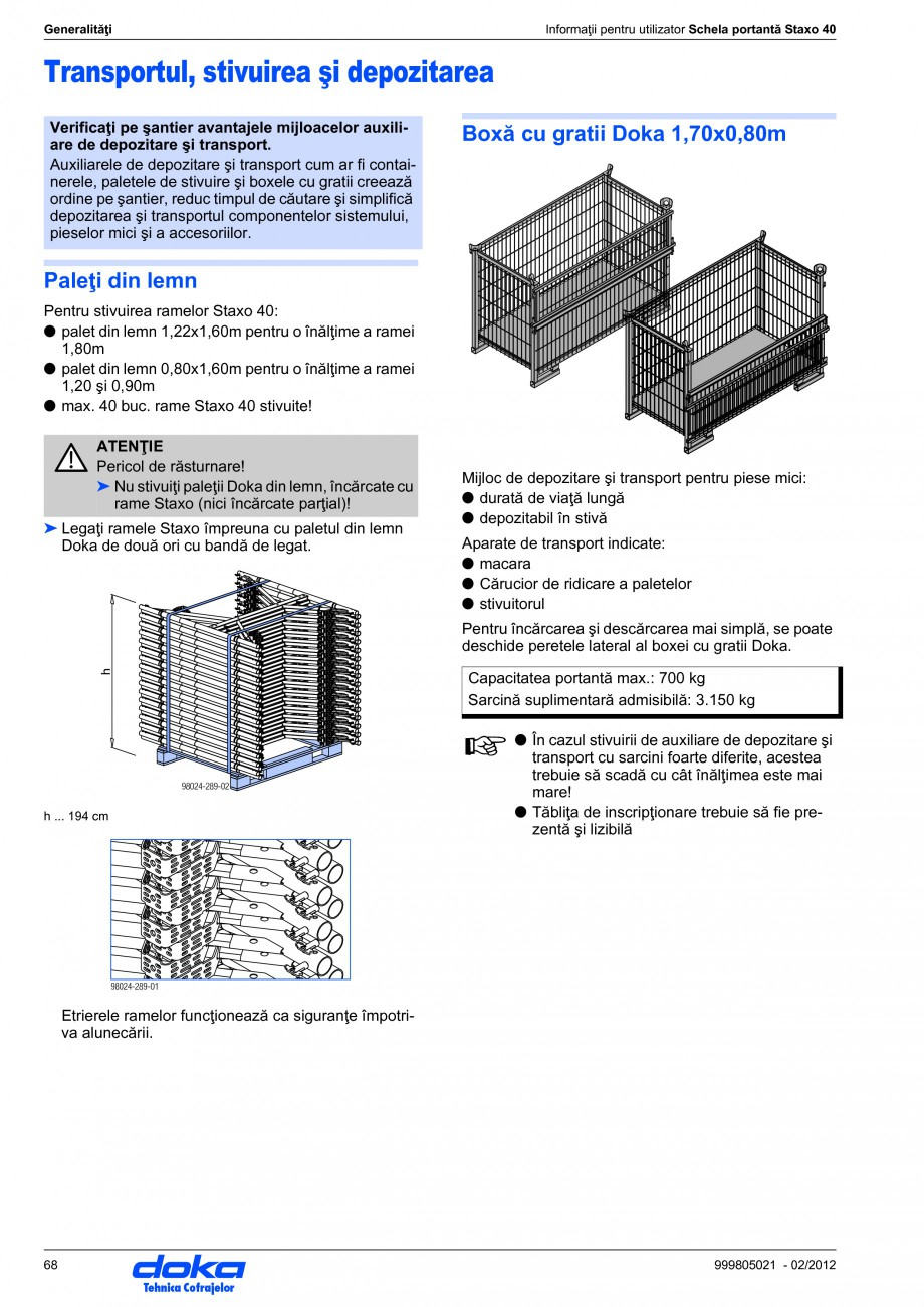 Pagina 68 - Schela portanta DOKA STAXO 40 Instructiuni montaj, utilizare Romana B Sabot complet X...