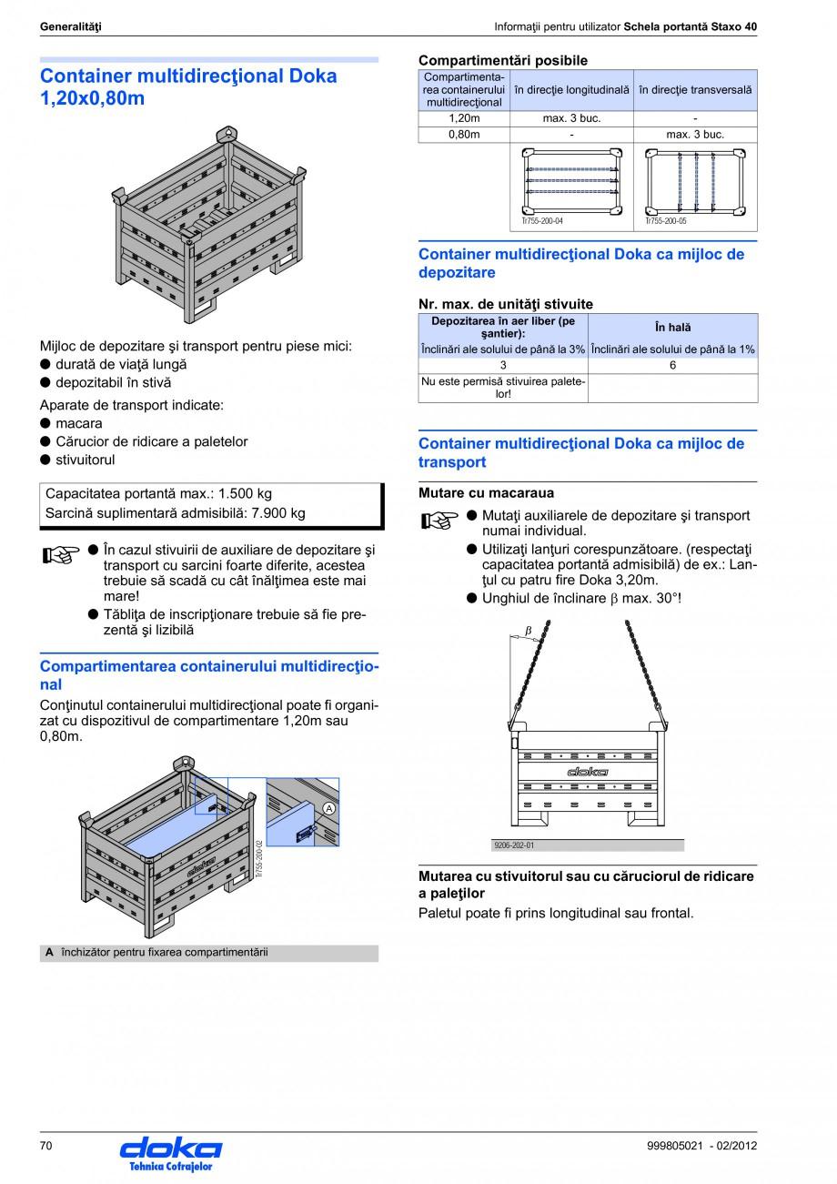 Pagina 70 - Schela portanta DOKA STAXO 40 Instructiuni montaj, utilizare Romana 5 kN) Forţa de...