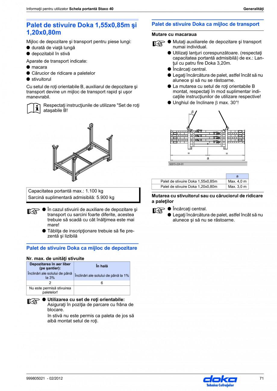 Pagina 71 - Schela portanta DOKA STAXO 40 Instructiuni montaj, utilizare Romana . la schele portante...