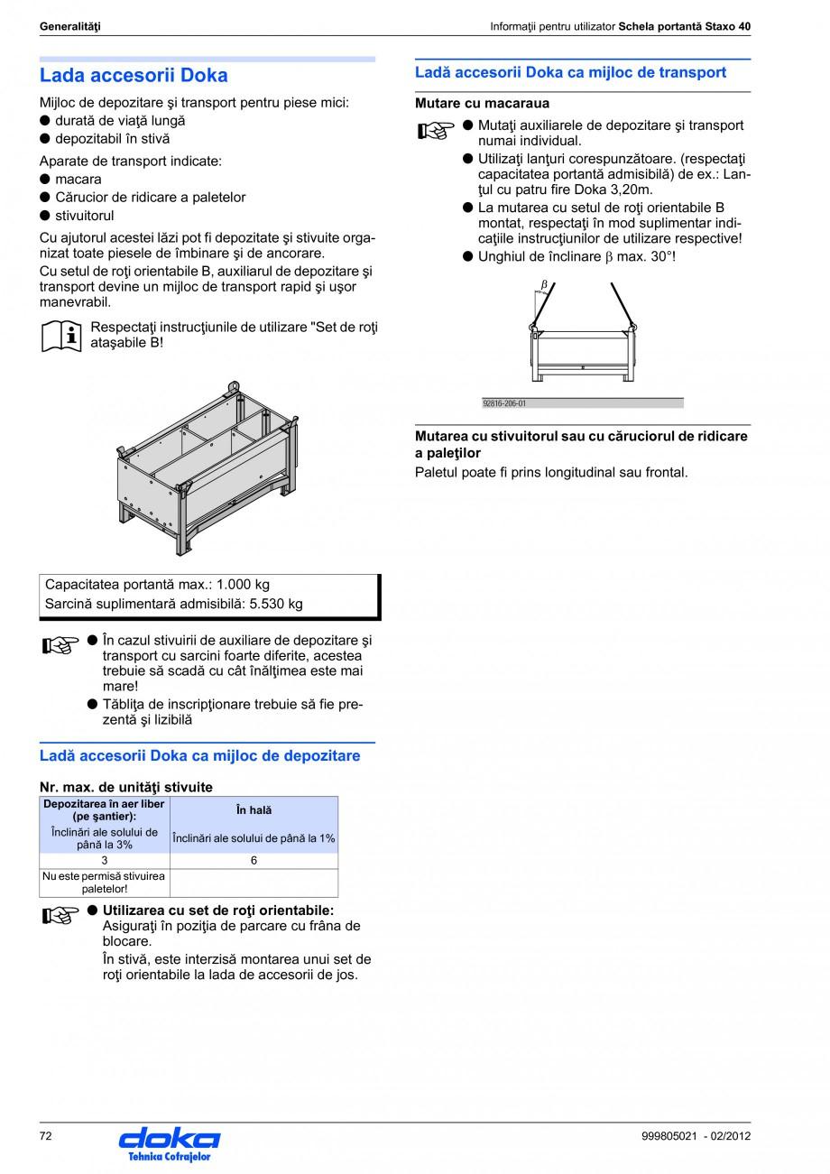 Pagina 72 - Schela portanta DOKA STAXO 40 Instructiuni montaj, utilizare Romana cesară a diblurilor...