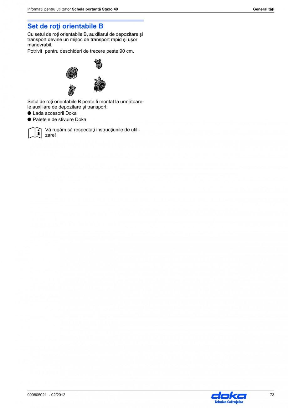 Pagina 73 - Schela portanta DOKA STAXO 40 Instructiuni montaj, utilizare Romana a piesa de cap...