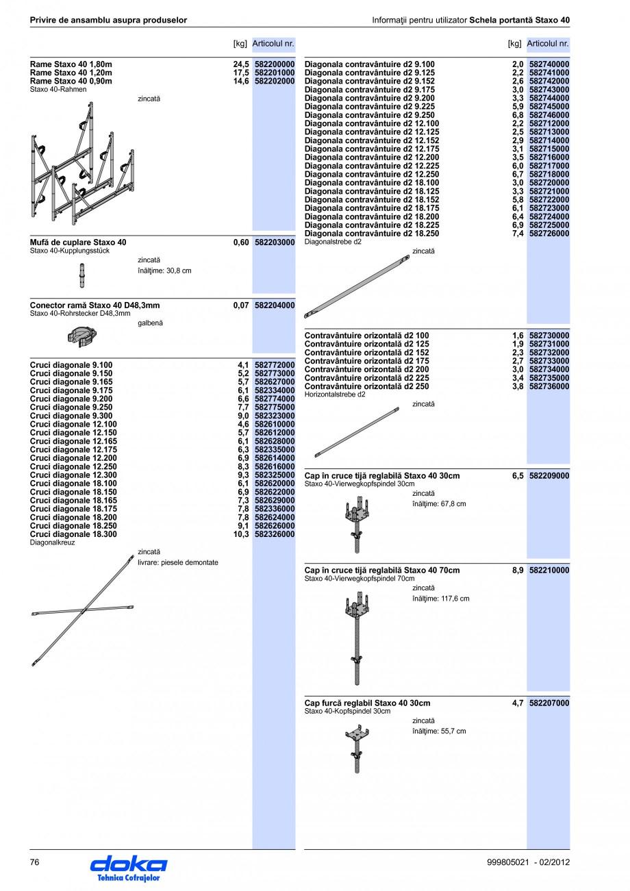 Pagina 76 - Schela portanta DOKA STAXO 40 Instructiuni montaj, utilizare Romana  statice...