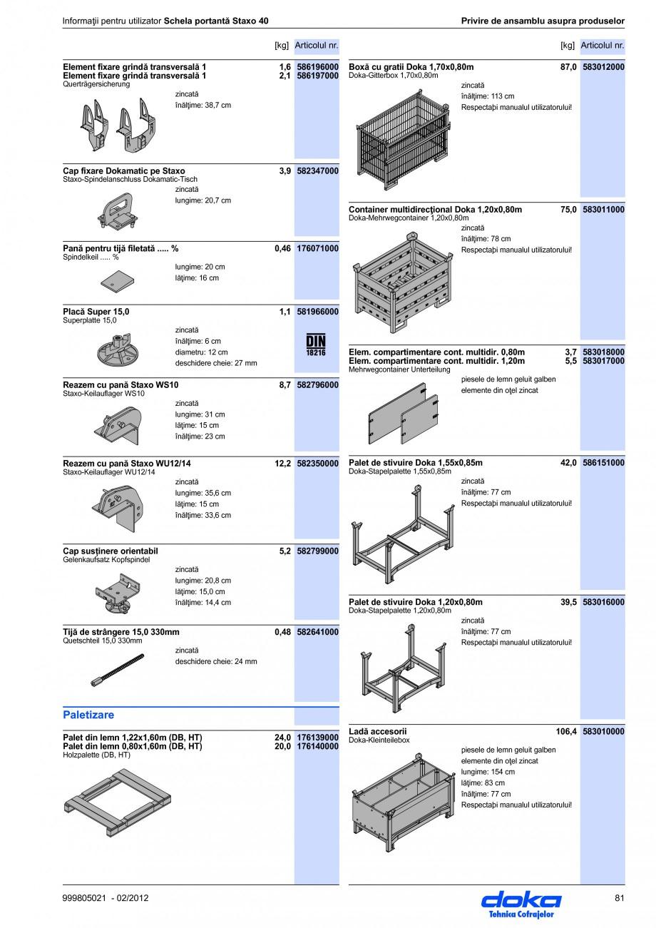 Pagina 81 - Schela portanta DOKA STAXO 40 Instructiuni montaj, utilizare Romana ăţi  Combinarea cu...