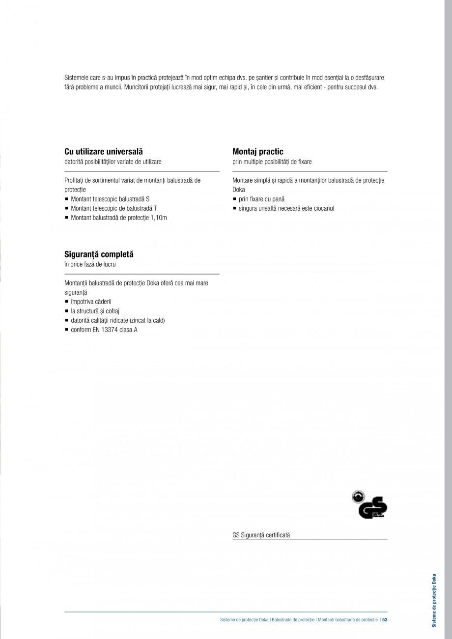 Pagina 52 - Siguranta pe santier - Sisteme de protectie DOKA Xsafe plus, K, XP, Montanti, Xclimb 60,...