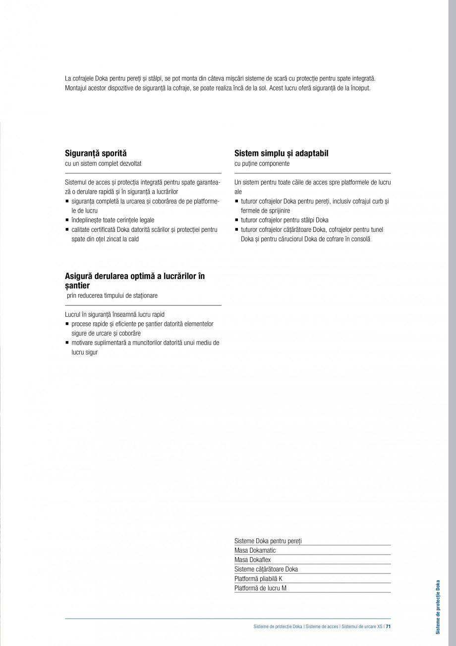 Pagina 70 - Siguranta pe santier - Sisteme de protectie DOKA Xsafe plus, K, XP, Montanti, Xclimb 60,...