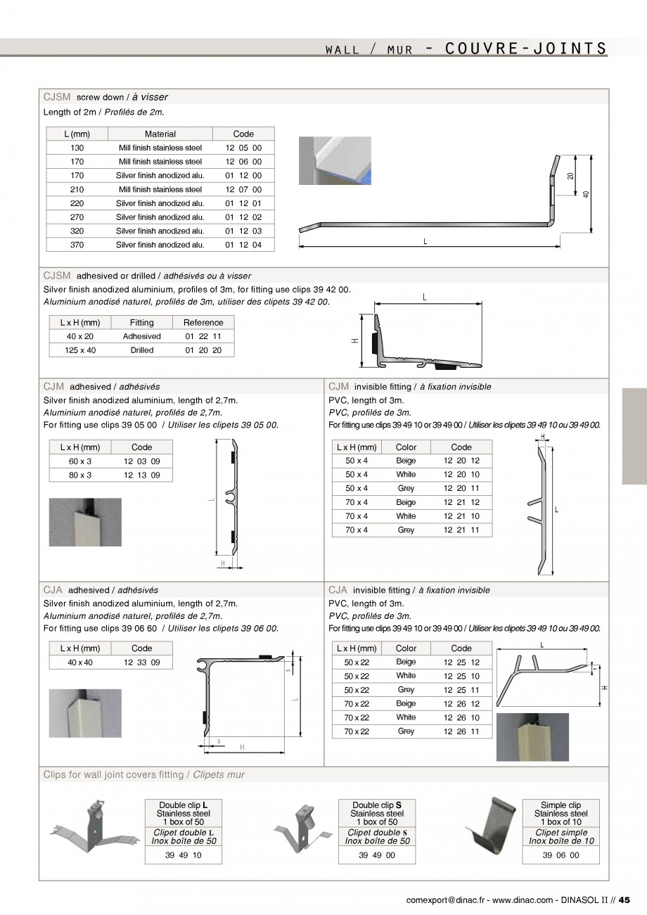 Pagina 47 - Profile de dilatatie pentru pereti, pardoseli  Catalog, brosura Engleza, Franceza ...