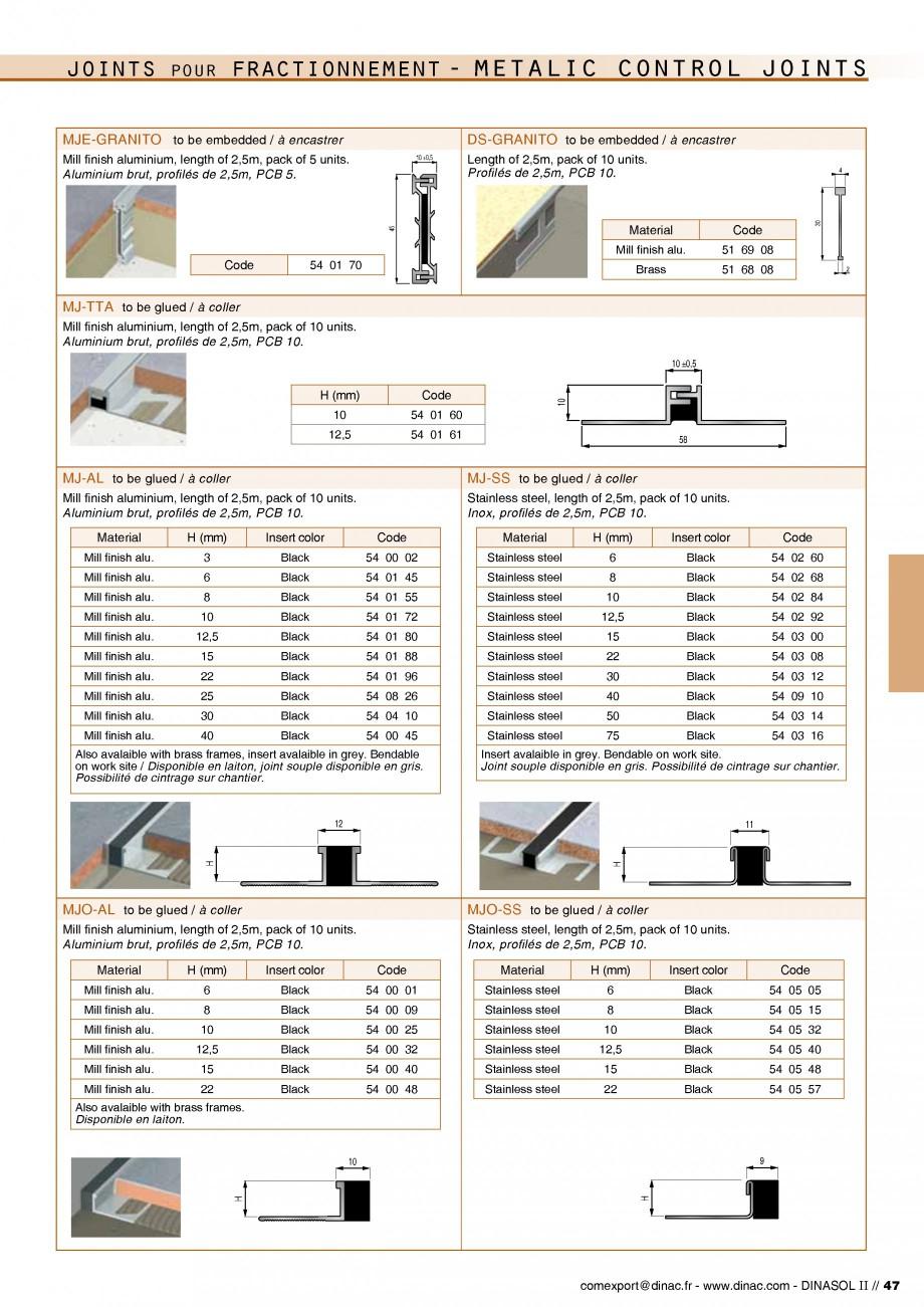 Pagina 49 - Profile de dilatatie pentru pereti, pardoseli  Catalog, brosura Engleza, Franceza 44%...