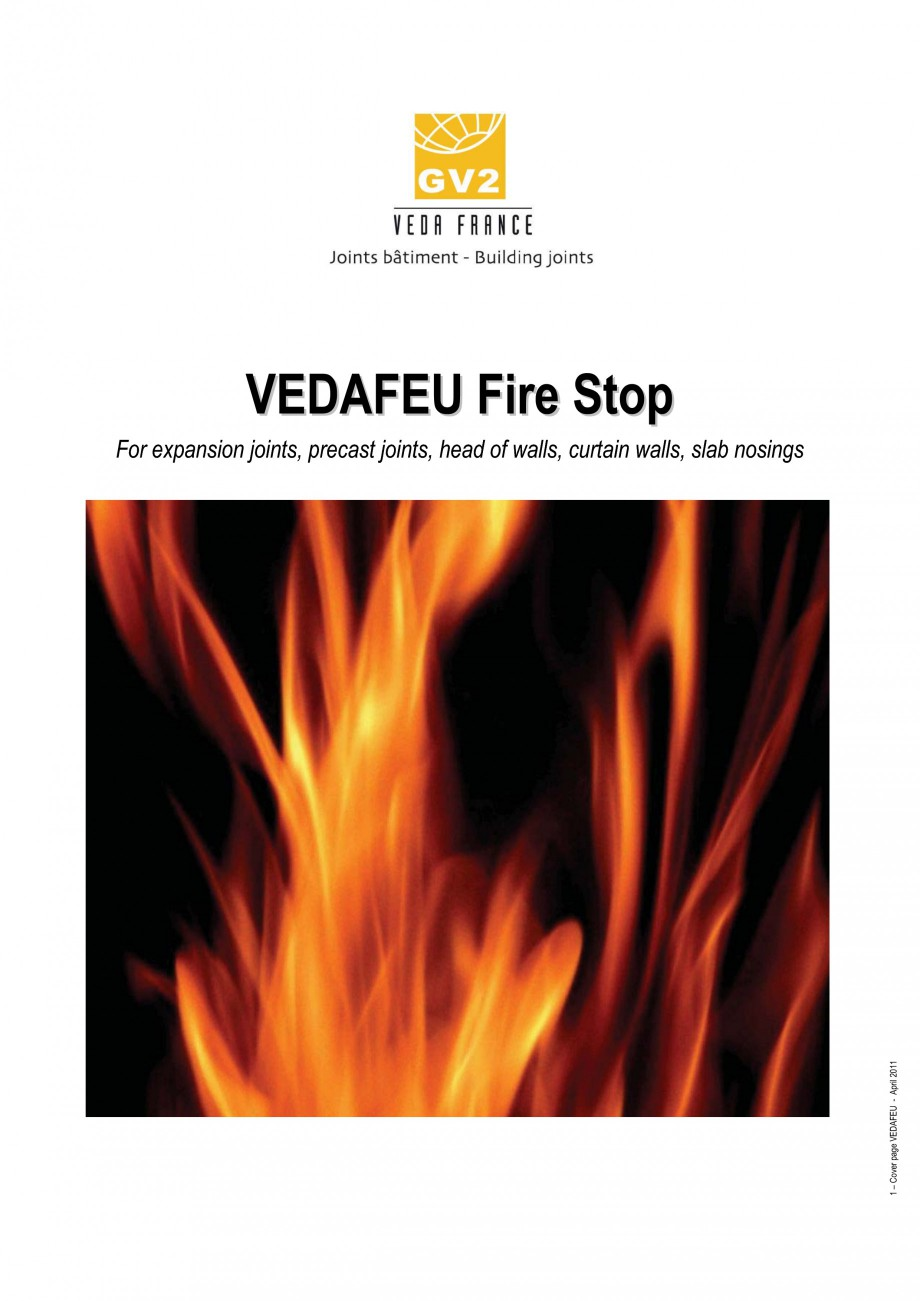 Pagina 1 - Protectie la foc pentru rosturi in pardoseli VEDA Fire stop systems Fisa tehnica Engleza ...