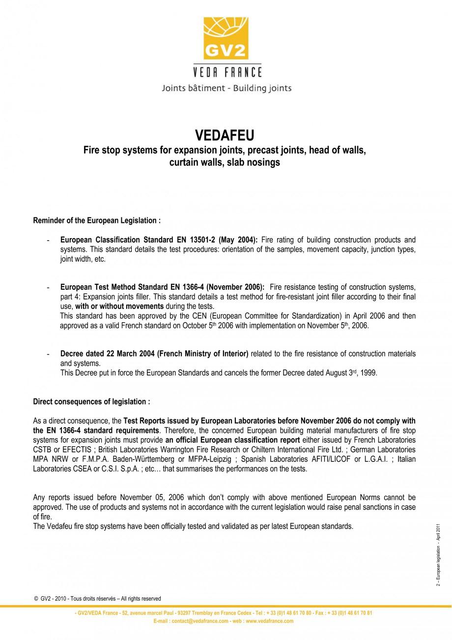 Pagina 2 - Protectie la foc pentru rosturi in pardoseli VEDA Fire stop systems Fisa tehnica Engleza ...