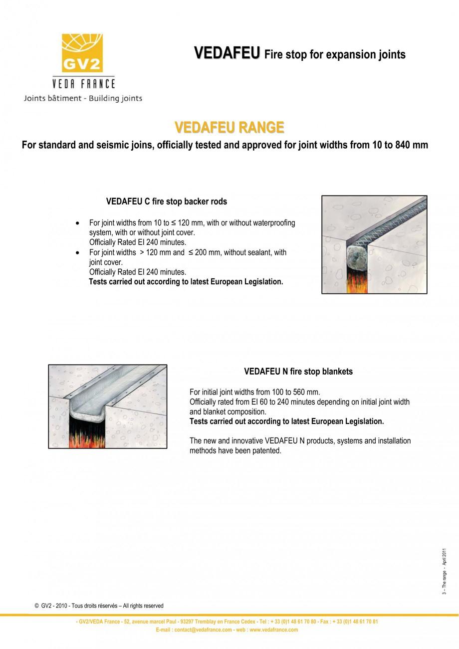 Pagina 3 - Protectie la foc pentru rosturi in pardoseli VEDA Fire stop systems Fisa tehnica Engleza ...