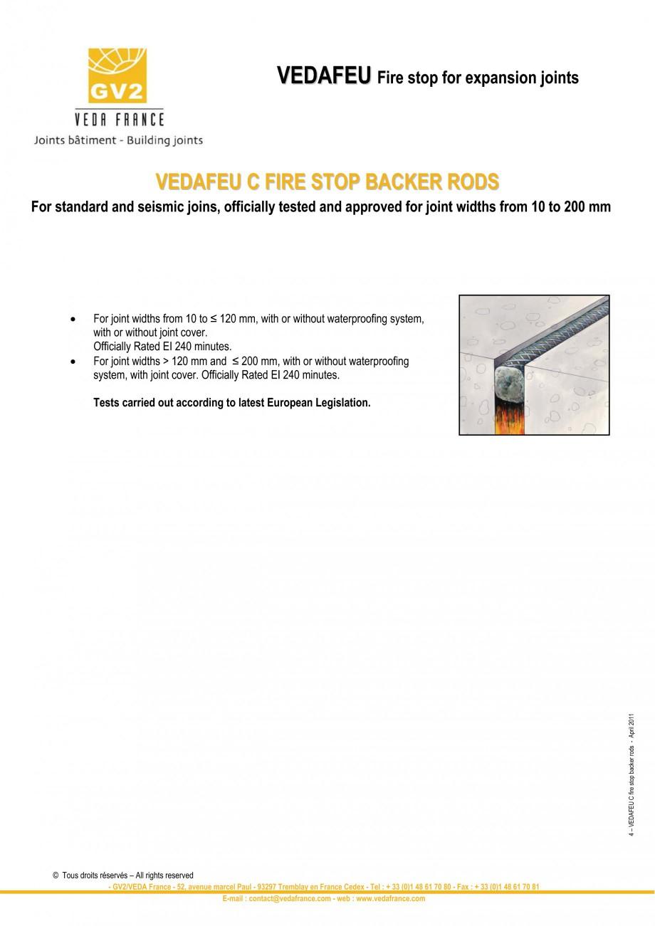 Pagina 4 - Protectie la foc pentru rosturi in pardoseli VEDA Fire stop systems Fisa tehnica Engleza ...