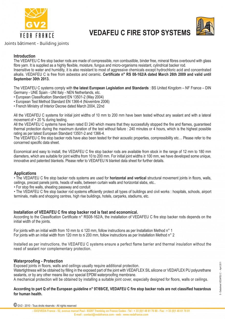 Pagina 5 - Protectie la foc pentru rosturi in pardoseli VEDA Fire stop systems Fisa tehnica Engleza ...