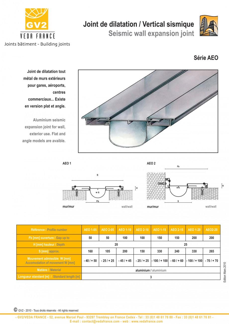 Pagina 1 - Profile de dilatatie pentru tavane si pereti VEDA Facades and ceilings expansion joints...