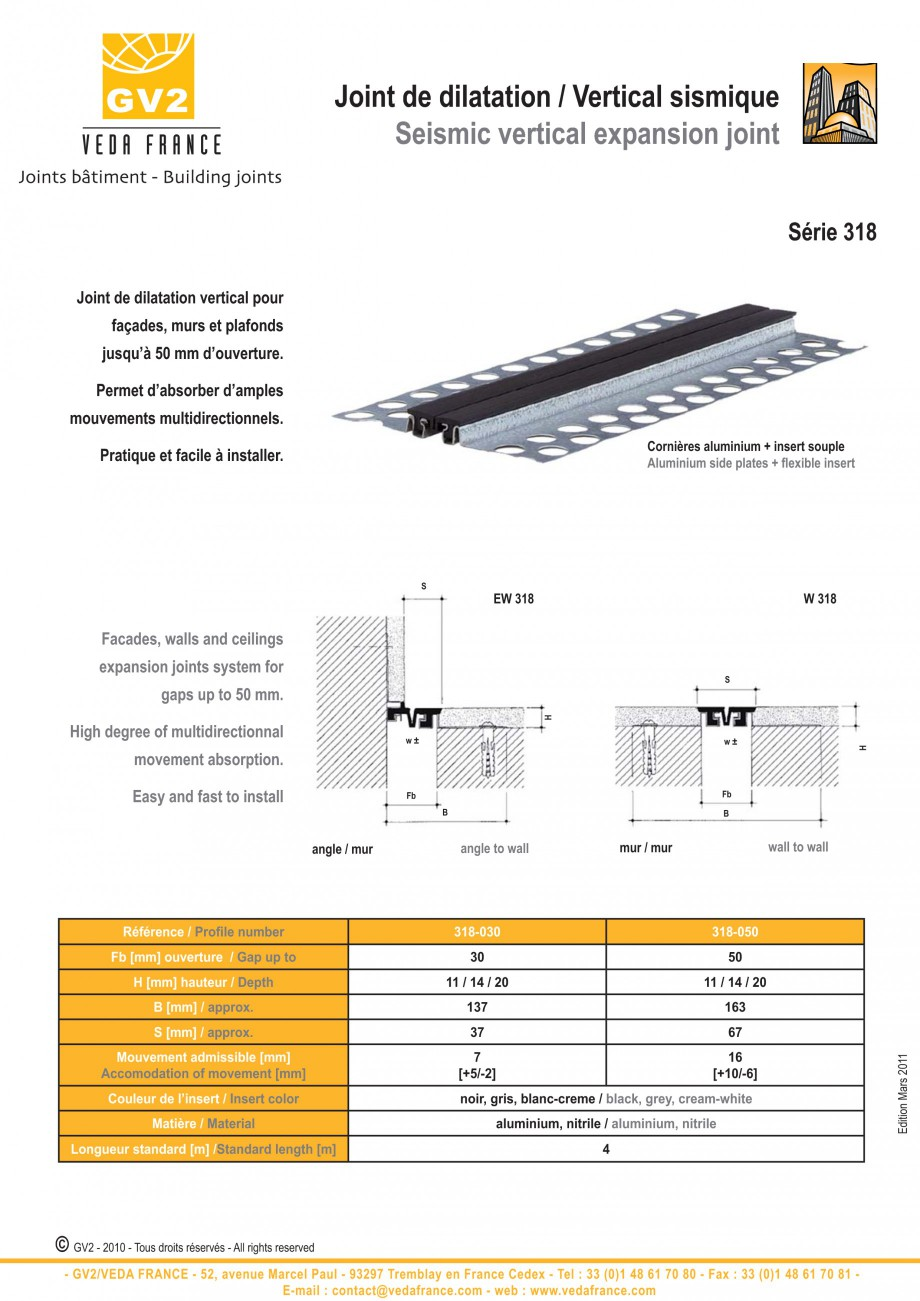 Pagina 3 - Profile de dilatatie pentru tavane si pereti VEDA Facades and ceilings expansion joints...